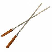 Шампур с деревянной ручкой 600х10х2 мм, плоский, для нешироких мангалов
