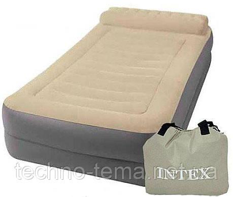 Надувная велюр-кровать Intex 67776 со встроенным электронасосом