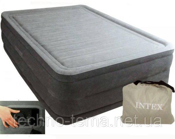 Надувная велюр-кровать Intex со встроенным электронасосом 203х152х51 см (67954)