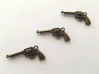 Металлические накладки. Пистолет. Цвет античная бронза. 36х15мм