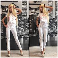 Женский стильный комбинезон брюками на кнопках (2 цвета) + (Большие размеры)