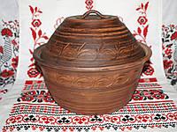 Хлебница гончарная из красной глины