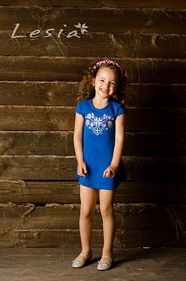 Сукня дитяча Лісова пісня рожева на синьому – короткий рукав