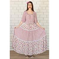 Платье в пол в цветочек Розовое купить