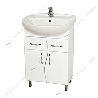 Тумба для ванной комнаты белая Аква 55/2   умывальник Аква 55