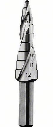 Ступенчатое сверло BOSCH, HSS, цилиндрический хвостовик 9 ступеней Ø 4 / 5 / 6 / 7 / 8 / 9 /10/11/12 мм, фото 2