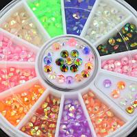 Стразы для дизайна ногтей в карусели, 12 цветов, 3 мм