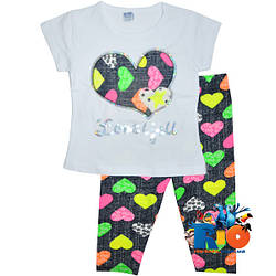 """Летний костюм """"Love You"""" , из трикотажа , для девочек от 1-2;2-3;3-4;4-5;5-6 лет"""