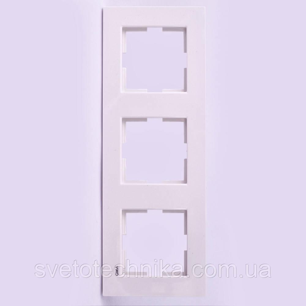 Тройная рамка VI-KO Karre вертикальная скрытой установки (белая)