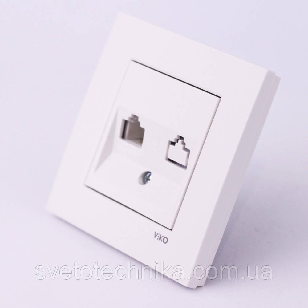 Розетка компьютерная+телефонная VI-KO Karre(белого цвета)