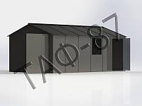 Гараж металлический 5,7х2,6х2,2 металл 1,2 мм с окном и калиткой сбоку, фото 1
