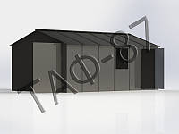 Гараж металлический 5,7х2,6х2,2 металл 1,2 мм с окном и калиткой сбоку