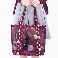 Летняя сумочка для пляжа бордовая