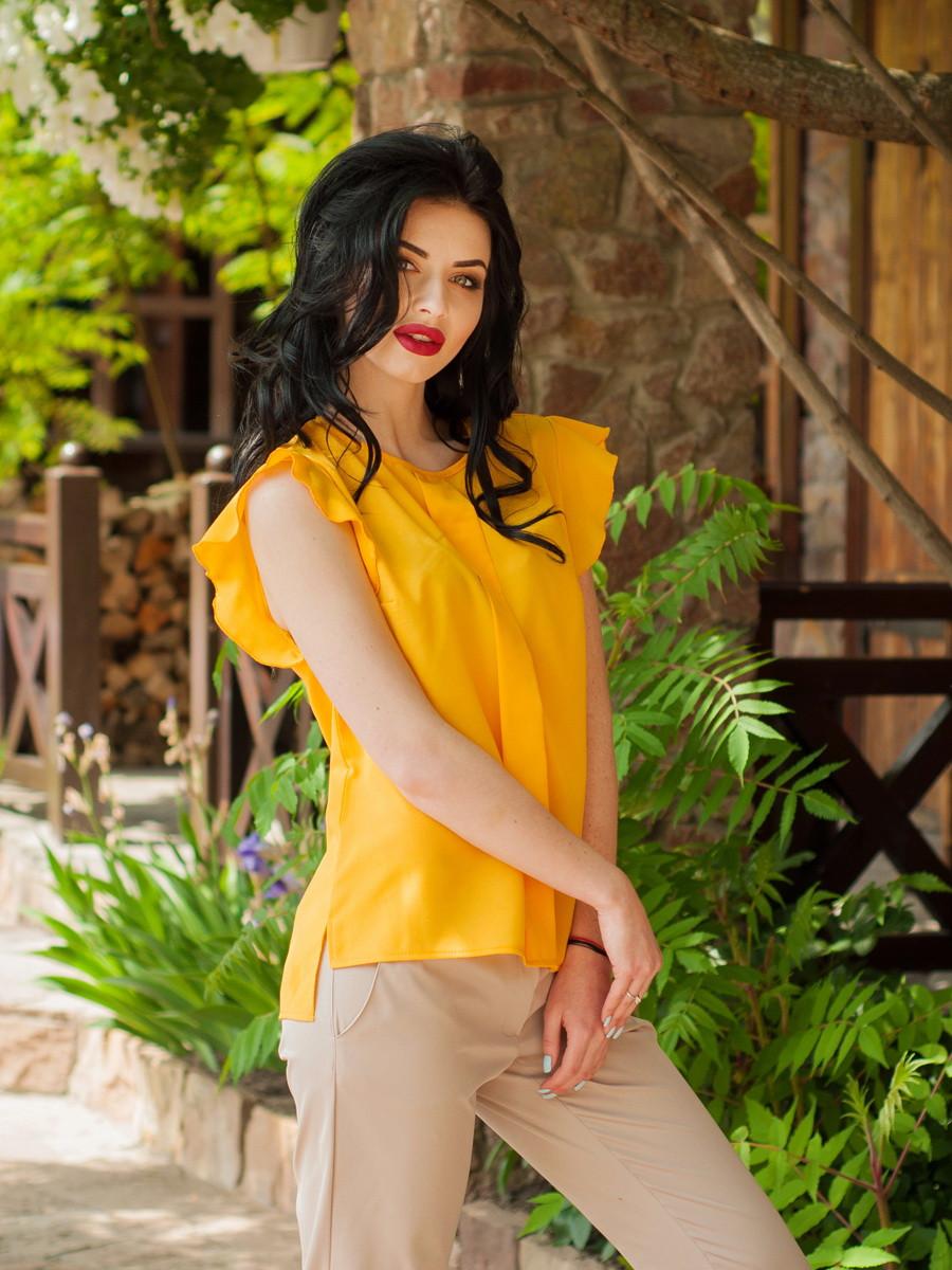 Женская шифоновая блуза без рукавов, горчичного цвета Селена