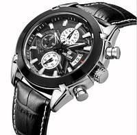 Оригинальные кварцевые мужские часы Megir Montre Dark с хронографом