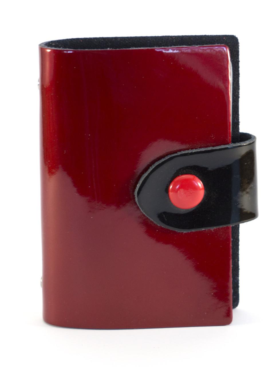 Стильная бордовая лаковая женская карманная визитница на кнопке art. Б/Н визитница лак