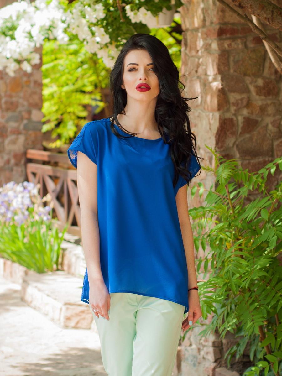 Женская шифоновая блуза с гипюровой спинкой, Милочка СИНЯЯ