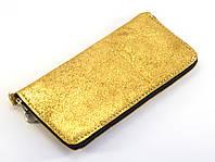 Кожаный золотистый чехол для телефона на молнии big  (100657)