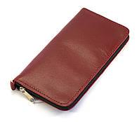 Удобный кожаный бордовый чехол-футляр для телефона на молнии big