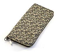 Бежевый кожаный стильный чехол-футляр для телефона на молнии с цветочным принтом big