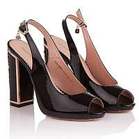 Босоножки женские Foletti (роскошный дизайн каблука, черные, стильные, изысканные, модные)