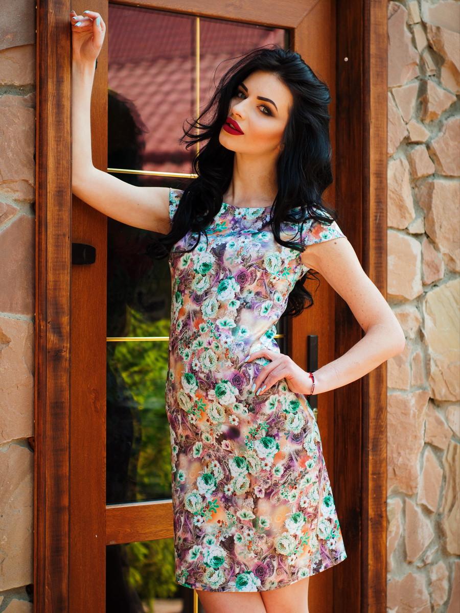 Приталенное яркое платье для женщин Ника