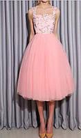 Брендовое женское платье пышное выпускное розовое итальянское