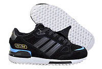 Зимние женские кроссовки на меху Adidas ZX 750 в черном цвете