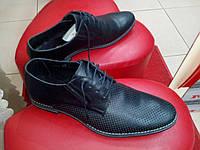 Классические мужские летние туфли с перфорацией, кожа МИДА 13806  черн.