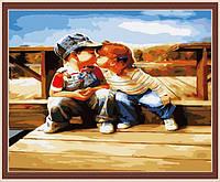 """Роспись картины на холсте по номерам """"Первая любовь"""", 40х50см. MG140"""