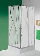 """Квадратная душевая кабина с поддоном Sanplast KN/TX5-90-S sbCR +Bza профиль хром, стекло """"кора"""""""