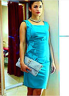 Брендовое женское платье до колена приталенное  голубое итальянское