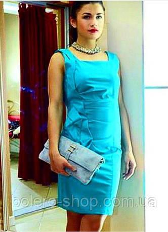 Брендовое женское платье до колена приталенное  голубое итальянское , фото 2