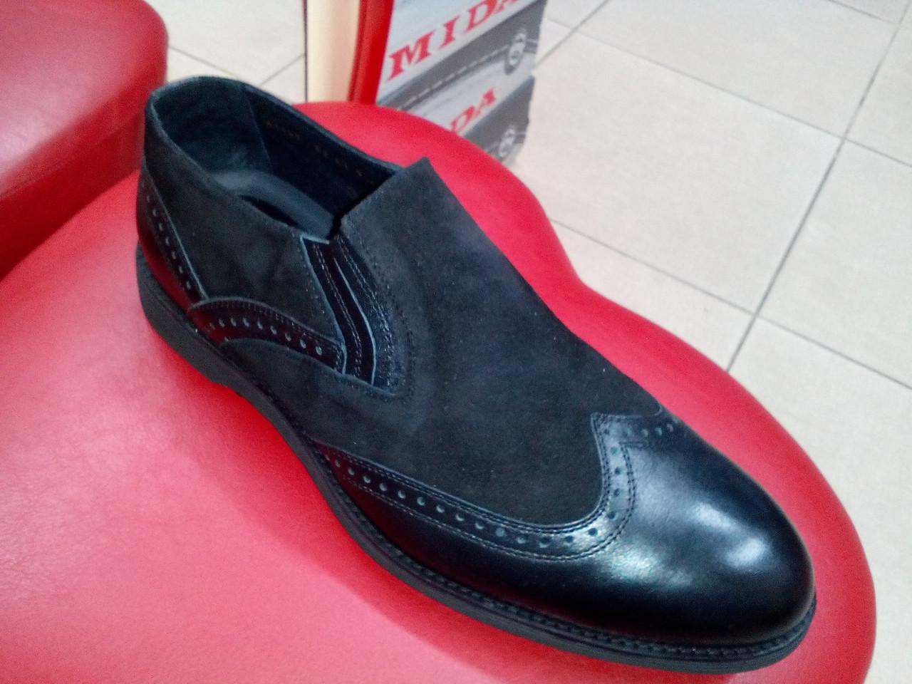 Модные мужские туфли замша + кожа МИДА 11145 премиум