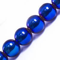 Бусины Гальваника Стекло, Круглые, Цвет: Синий, Диаметр 10мм, Отв-тие 1мм, около 30шт/нить, (УТ0029521)