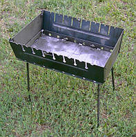 Мангал складной чемодан на 10 шампуров, 570х280х40 мм, ножки 550 мм, горячекатаная сталь 2мм