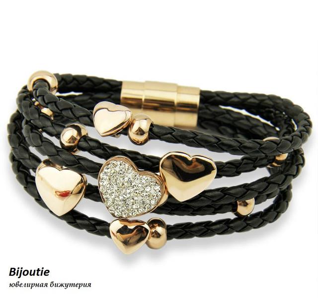 Браслет GOLDEN HEART ювелирная бижутери кожа декор золото 18К кристаллы Swarovski