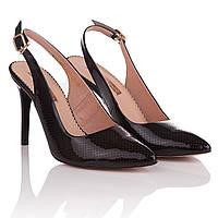 Босоножки женские Foletti (черного цвета, классический дизайн, острый носок, модные, изысканные, элегантные)