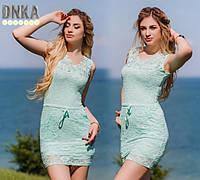 Платье Мятное Красивое Нежное Гипюр Летнее Поясок Ментол