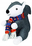 Игрушка для собак Белка с шарфом плюш.+ткань 20см