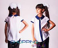 Детская блузка Шифон с синим воротничком