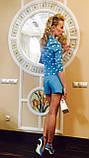 Женские шорты классические голубые широкие итальянские на лето, фото 2