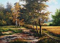 «Сельский пейзаж. Река» картина маслом