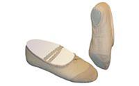 Балетные тапочки бежевые OB-2491 (р-р 24-43, верх-х/б,кожа, подошва-кожа)