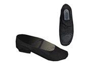 Балетные тапочки на каблуке (2см) черные OB-3220 (р-р 35-40, верх-х/б, подошва-замш)
