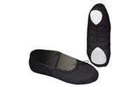 Балетные тапочки черные OB-0005 (р-р 24-45, верх-х/б,кожа, подошва-кожа)