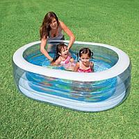 Овальный детский надувной басейн Intex 57482 для дачи и отдыха 163 см х 107 см х 46 см