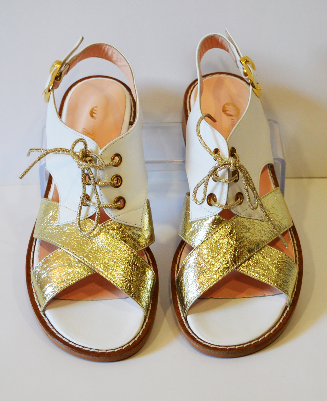 Женские босоножки золотистые на шнурках Magnolya 1950