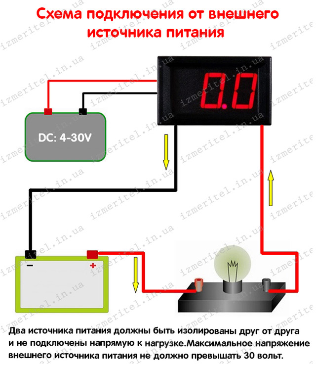 Цифровой амперметр 20А (Схема подключения)