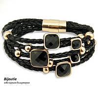 Браслет BLACK STONE ювелірна біжутерія шкіра декор золото 18К і кристали Swarovski
